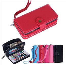 Nota billetera casos de correa online-Cremallera Carteras Estuches Lichee Pattern Funda de tarjeta de crédito de cuero PU con correa de cordón para iphone 5s 6 6s más Samsung s6 s7 edge note 5
