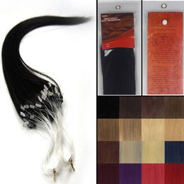 """Wholesale Micro Hair Extensions 1b - 16''-26""""Silky Straight Micro Loop ring beads Natural hair extensions Grade AAA weaving hair #1B black with brown,100s pack"""