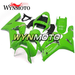 Wholesale Zx6r Frame - Green Full Fairings For Kawasaki ZX-6R 636 2003-2004 03 04 Injection ABS Plastics Hull Covers Motorbike ZX6R Frames Body Kits Cover Panels