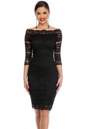 Wholesale Designer Lady S Dresses - 2017 new designer Office Ladies Dress Party Slash Nech Black Lace Scalloped Off Shoulder Midi Dress Fall Vestido de Renda Festa