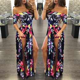 1504338ddb2 2017 Hot Cheap Bohemian Maxi Rompers Long Casual Summer Dresses Plus Size  Floral Printed Dresses Off Shoulder Sexy Backless Split 5xl