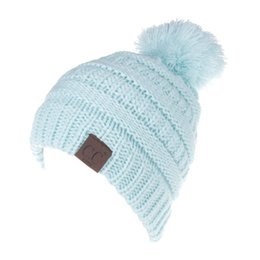 Wholesale Child Caps - Letter CC Beanies Winter Knitted Hat with Pom Pom Kids Warm Beanies Cap CC Label Skullies Beanies Girls Warm Caps for Children