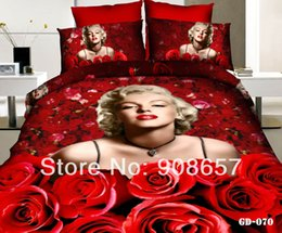 Wholesale Sexy Marilyn Monroe Comforter - Wholesale-sexy red rose flower Marilyn Monroe 3D printed Bedding cotton comforter girls bedspread queen quilt duvet covers set bedclothes