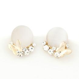 Wholesale Cats Eye Gold Earrings - 2017 Korean Gold Oorbellen for women Stud Earrings Cat Eye Butterfly Brincos Fashion Earrings Jewelry Women Accessories