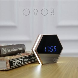 Wholesale Usb Digital Clock - Multifunction Mirror Glass Alarm Clock Night Lights Snooze Light-emitting Thermometer Digital Wall Clock Brightness USB cable