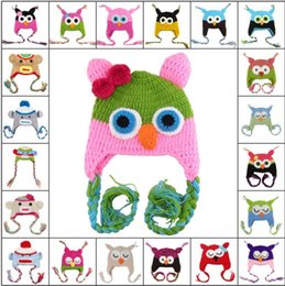 Wholesale Hand Knitted Wool Owl - 27 Design Owl and monkey earFlap crochet hat Baby Kids wool weaving hat hand-woven Baby Hat Knitting Wool Monkey hat Animal hat 10PCS