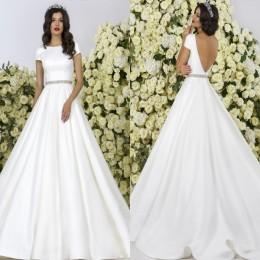 Wholesale Empire Waist Wedding Cathedral - 2016 Cap Sleeves Wedding Dresses Crystal Design Bridal Gowns Backless Beaded Waist A Line Spring Cathedral Vintage Wedding Gowns