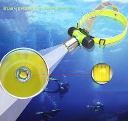 Wholesale Head Flashlight Dive - Underwater 60m Diving Flashlight CREE XML T6 LED Dive head light Waterproof Headlamp Headlight 1800Lumen Free Shipping