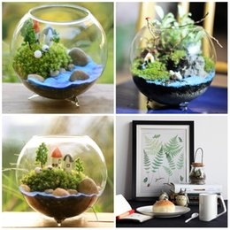 Wholesale Plastic Candlesticks - Glass Fish Tank Globe Tea Light Holder Home Decor Candlestick Diameter 4 inch Micro Landscape Terrarium top quality E416L