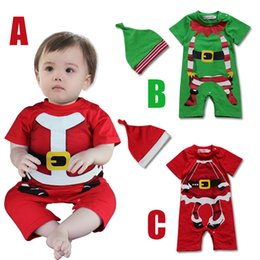 Wholesale Infant Baby Modeling - 2015 New Baby Romper Christmas Romper climbing clothes modeling short-sleeved rompers + hat Infant 2pcs suit baby Xmas clothes