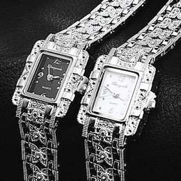 Wholesale Square Watch Ladies - NEW Vintage Women Ladies Royal Fashion Square Dial Silver Stainless Steel Casual Bracelet Rhinestone Dress Watches Time Quartz