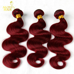 Wholesale Cheap Remy Hair Red - 3PCS Lot 8-30Inch Grade 7A Burgundy Mongolian Body Wave Virgin Human Hair Weave Bundles Wine Red 99J Cheap Remy Hair Extensions Double Wefts