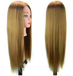 Wholesale hairdressing training head practice - 60cm Synthtic hair Practice Hairdressing Training Head Mannequin training head
