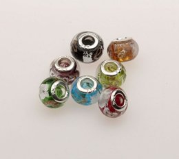 Wholesale Mixed Large Hole Beads - Hot sell ! Mix Color Gold Silver Foil Murano Glass Large Hole Beads Fit Charm Bracelet 13.5mm x9.5mm Jewelry DIY free shipping (mn20)
