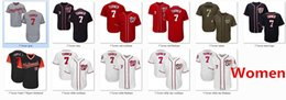 Wholesale Women Red Service - Women Nationals 7 Trea Turner Baseball Jersey White Red Navy Blue Gray Grey Cooperstown Team Logo All Star Players Weekend Salute to Service