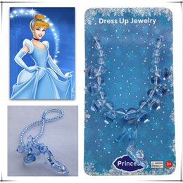 Wholesale Wholesale Shoes Jewerly - Children Girls Jewerly Kids Frozen Necklace 2015 New Fashion Cartoon Design Cinderella Crystal Shoes Necklace Grils Party Accessories MC-411