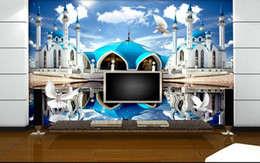 Wholesale Mural Definition - living style wallpaper Beautiful high-definition blue castle blue sky reflection wall mural photo wallpaper