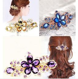 Wholesale Hair Tiara Gold - 2015 Hot Fashion Women Crystal Flower Rhinestone Hair Pins Hairpins Clip Barrette Twinkling Hairpin Tiara Hair Accessories