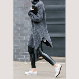 Wholesale Cable Knitwear - Wholesale- casual women winter pullovers sweater grey knitwear side slit sloth jumpers chunky cable pull femme long sleeve turtleneck