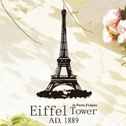Wholesale Paris Wall Decals - Art Wall Sticker home decoration cheap Romantic Paris Eiffel tower Wall Sticker removable France famous building love story decal