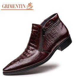 Wholesale Comfortable Safety Boots - GRIMENTIN brand men boots genuine leather mens ankle boots crocodile style comfortable luxury men dress shoes for wedding size:38-44 2-04