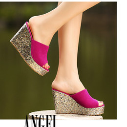 Wholesale Suede Heels Summer - New arrive women fashion ladies female summer sexy Sequins Paillette wedges platform high-heeled beach slippers Flip Flops Sandals shoes