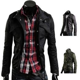 Wholesale 2xl Mens Casual Zip Jackets - S5Q Mens Korean Long Sleeve Slim Fit Stand Collar Jacket Coat Zip Casual Outwear AAAEDP