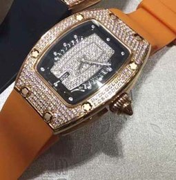Wholesale White Rubber Swiss Watch - Swiss Brand Womens Automatic Ladies Watch Date Full Diamond Rose Gold RM07-01 Rubber Best Price Wholesale Girl Women Mechanical Wristwatches
