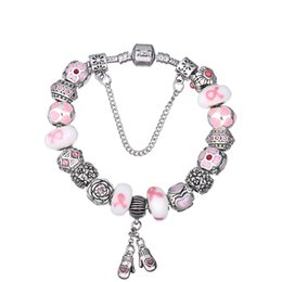 Wholesale Murano Ribbons - Elegant Charm Bracelets with Pink Ribbon Murano Glass Beads & Floral Bloom Charms & Gloves Dangles Snake Chain Bangle Bracelets BL124