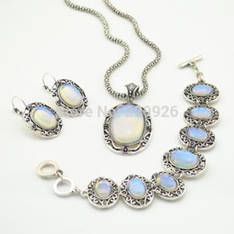 Wholesale Transparent Opal - S002 Necklace Earring Bracelet Jewelry Set Water Drop Transparent Opal Stone Vintage Look Tibet Antique Silver Plated