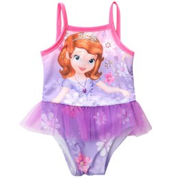 Wholesale Wholesale Baby Girl Bathers - 2016 children one piece girls baby swimsuit swim wear princess swimwear girl bather swimsuit for girl
