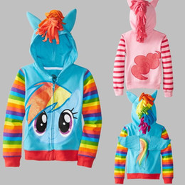 Wholesale Hooded Hoodies Jackets Coats - Retail New 2015 Fashion Girls Big Size Children Outerwear My little Pony Jackets Coat Hoodies Clothing Roupas Infantil in stock