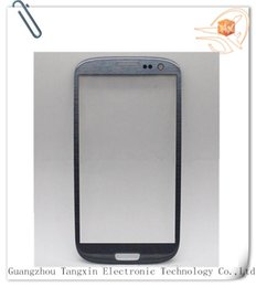 Wholesale S3 Glass Grey - Mobile Phone Accessories Parts Mobile Phone Touch Panel OEM high quality front glass for samsung s3 i9300 front glass grey blue with