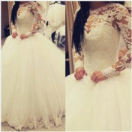 Wholesale Sweetheart Transparent Wedding Dress - Arabic Wedding Dresses Sheer Crew Neckline Long Transparent Sleeve Ball Gown Floor Length Bridal Dresses Middle East