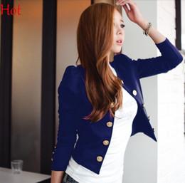 Wholesale Short Jacket Blazers - New OL Women Blazer Punk Suit O-neck Slim Blaser Short Jacket Office Coat Cargidans Buttons Outerwear Dark Blue Black Spring Autumn EU000240