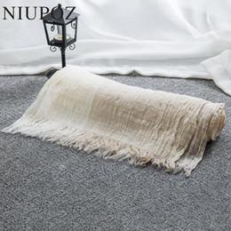 Wholesale Wrinkle Long Scarf - Wholesale- 2017 New Design Women Cotton&Linen Scarf Summer Beach Gradient Patchwork Wrinkle Long Shawl Big Size 100*190cm M195