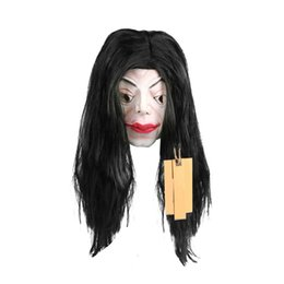 Wholesale Ghost Dresses - Long Hair Female Full Head Cosplay Scary Ghost latex Mask Horror Masquerade Adult Ghost Mask Halloween Costumes Fancy Dress