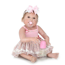 Wholesale Real Full Silicone Dolls - Wholesale- Lovely Weighted 23 Inch 57cm Full Body Soft Silicone Vinyl Reborn Baby Girl Doll Toddler Lifelike Newborn Dolls That Look Real