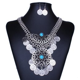 Wholesale Necklace Fringes - Gypsy Beads Coin Fringe Tassel Hollow Round Bib Statement Necklace Earrings Set Gypsy Antalya Silver Festival Turkish