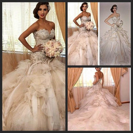 Wholesale Cathedral Train Beach Wedding Dress - Luxury Bridal Gown Gorgeous Cathedral Wedding Gowns Elegant vestido de noiva Sereia Luxury Mermaid Wedding Dresses