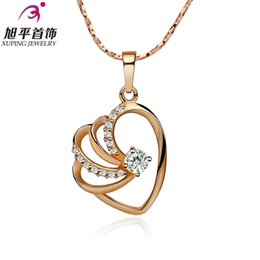 Wholesale Xuping Gold Filled Necklace - Gold-plated rose gold jewelry love Xuping short paragraph clavicle chain necklace female heart-shaped necklace love mood