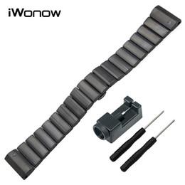 Wholesale Watch Clasp Stainless Steel Butterfly - Wholesale- 26mm Stainless Steel Watch Band + Link Remover + Screwdriver for Garmin Fenix 3   HR   5X Butterfly Buckle Strap Wrist Bracelet