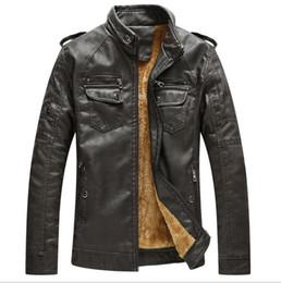 hombre chaquetas de cuero europa Rebajas Venta caliente envío gratis pu chaqueta de cuero azul hombre Europa EE. UU. Hombres de invierno más chaqueta de terciopelo chaqueta de cuero caliente para hombre