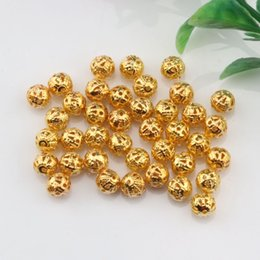 Wholesale Filigree Gold Jewelry - Hot ! 300 Pcs 8mm Gold Plated Round Filigree Hollow Spacer Bead DIY Jewelry