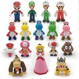 Wholesale Green Mario Mushroom - 16 Styles 8 - 15cm Anime Super Mario Bros Bowser Koopa Yoshi Mario Luigi Mushroom Peach Wario PVC Figure Toys Children Gift