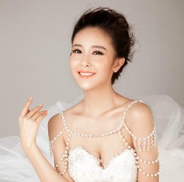 Wholesale Body Chain Jewerly - Vintage Wedding Bridal Party Girl Ladies Crystal Rhinestone Pearls Silver Flower Long Full Body Shoulder Chain Belly Necklace Jewelry Set