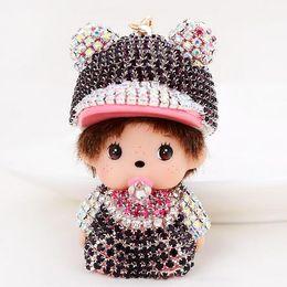 Wholesale Poodle Jewelry - Monchichi Christmas Gift crown poodle Rhinestone women Car Keychain Cartoon Key Ring key chain fashion Jewelry Pendant wedding gift