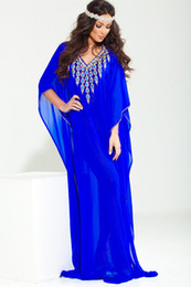 Wholesale Coral Womens Dress - Royal Blue Evening Dresses For Saudi Arabian Womens Luxury Muslim Arabic Arab Caftans Islamic Beaded Dubai kaftan Abaya Gowns