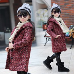 Wholesale Girls Wool Long Coat - Girls Wool Winter Coats Children's Autumn And Winter Windbreaker Jacket Woolen Children coats for girls Kids Clothes Wholesale