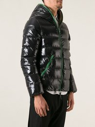 Wholesale Winter Hat Italy - 2014 fall winter duveca man down jackets with hood dionisio black Parkas + green zippers Italy brand